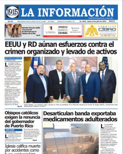 Portada Periódico La Información, Domingo 21 de Julio, 2019