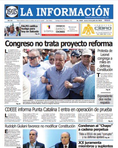 Portada Periódico La Información, Jueves 18 de Julio, 2019
