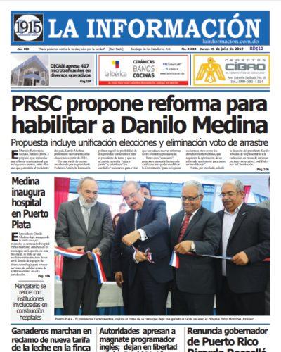 Portada Periódico La Información, Jueves 25 de Julio, 2019
