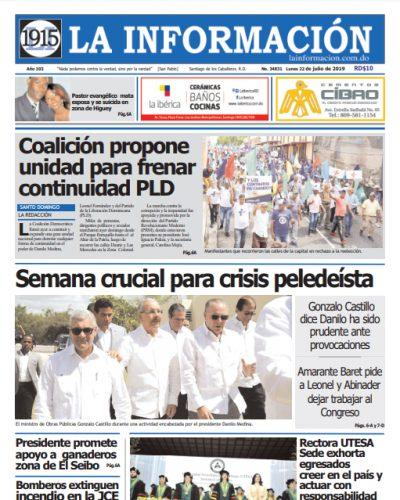Portada Periódico La Información, Lunes 22 de Julio, 2019