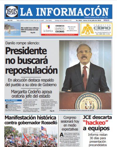 Portada Periódico La Información, Martes 23 de Julio, 2019