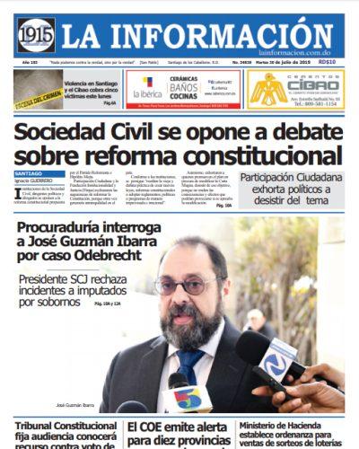 Portada Periódico La Información, Martes 30 de Julio, 2019