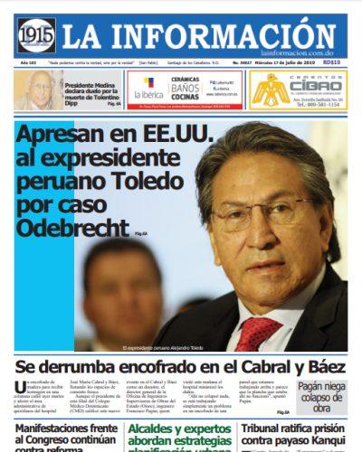 Portada Periódico La Información, Miércoles 17 de Julio, 2019