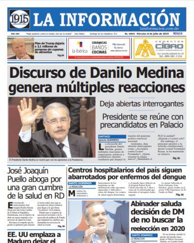 Portada Periódico La Información, Miércoles 24 de Julio, 2019