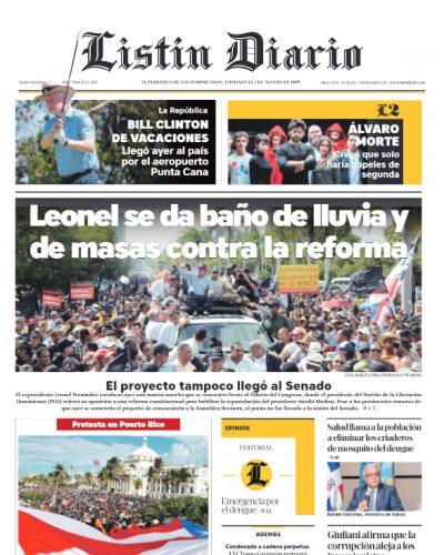 Portada Periódico Listín Diario, Jueves 18 de Julio, 2019