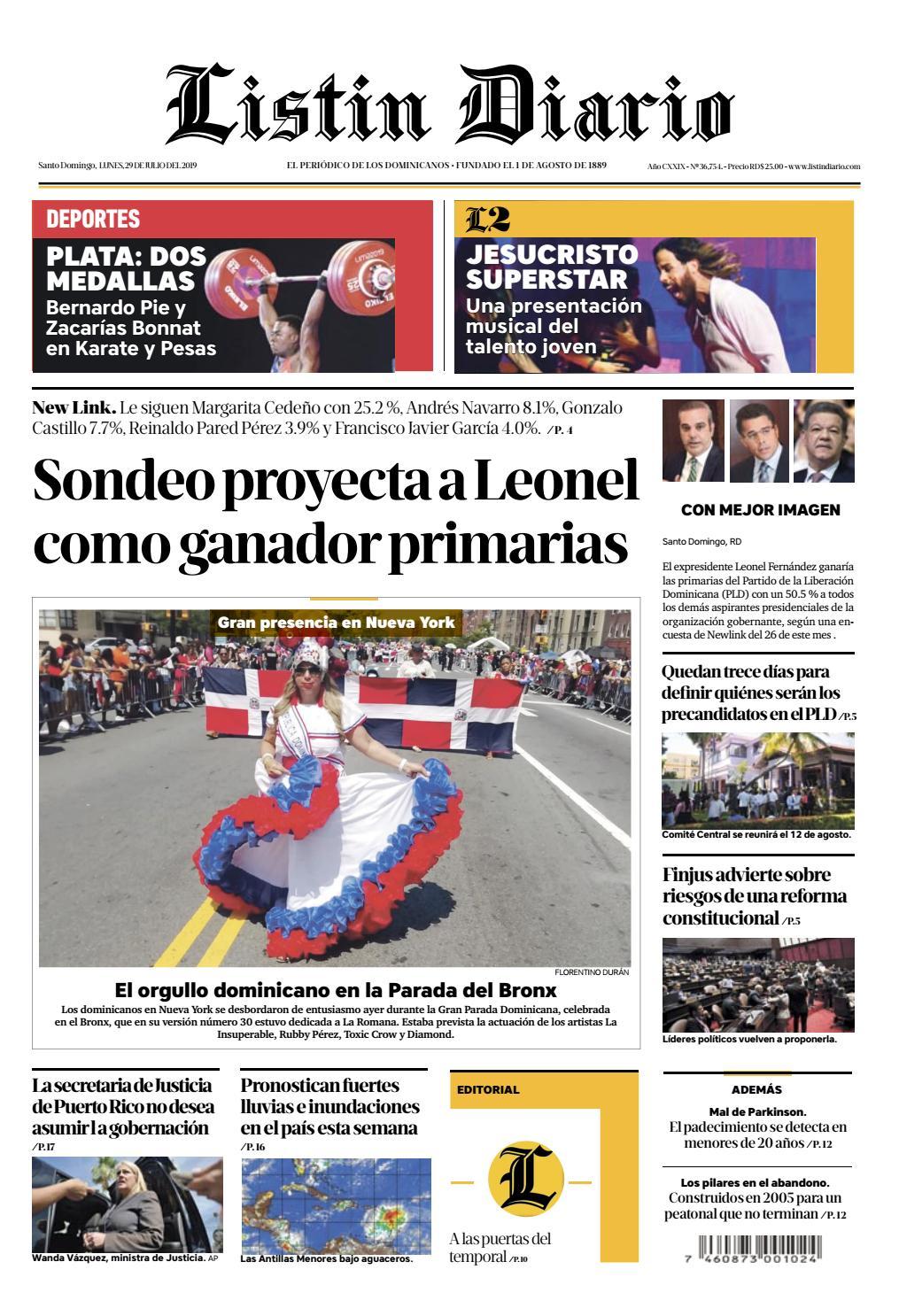 Portada Periódico Listín Diario, Lunes 29 de Julio, 2019
