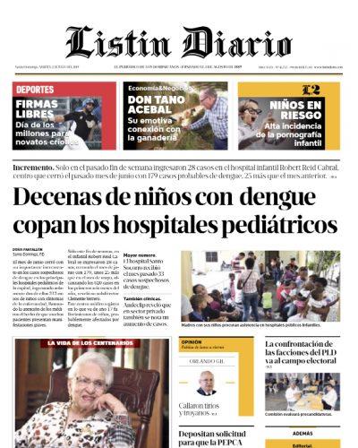 Portada Periódico Listín Diario, Martes 02 de Julio, 2019