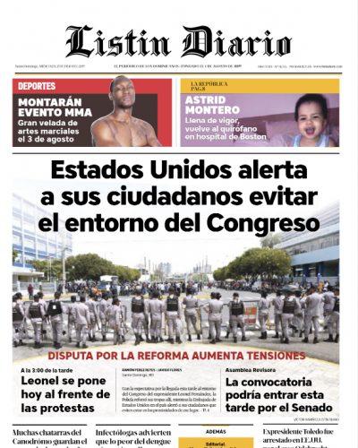 Portada Periódico Listín Diario, Miércoles 17 de Julio, 2019