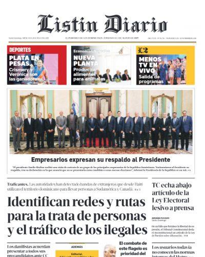 Portada Periódico Listín Diario, Miércoles 31 de Julio, 2019