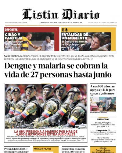 Portada Periódico Listín Diario, Sábado 06 de Julio, 2019