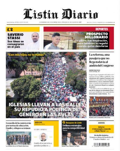 Portada Periódico Listín Diario, Viernes 05 de Julio, 2019