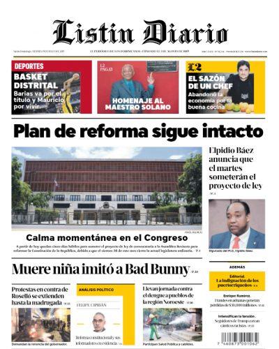 Portada Periódico Listín Diario, Viernes 19 de Julio, 2019