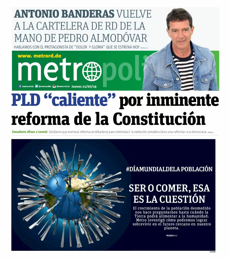Portada Periódico Metro, Jueves 11 de Julio, 2019