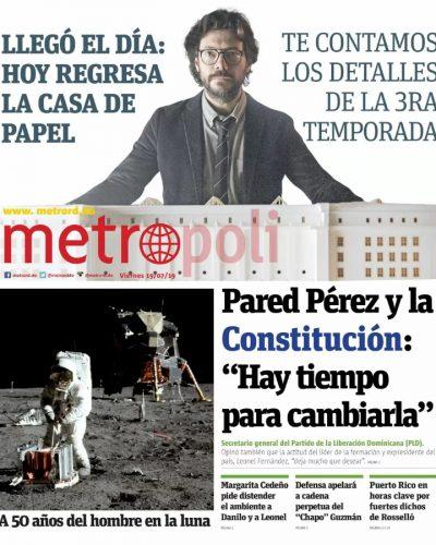Portada Periódico Metro, Viernes 19 de Julio, 2019