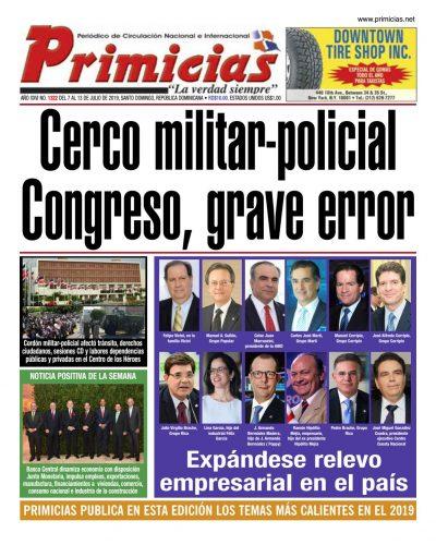 Portada Periódico Primicias, Lunes 08 de Julio, 2019