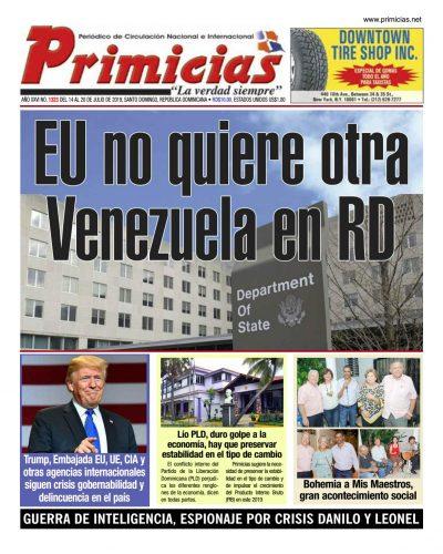 Portada Periódico Primicias, Lunes 15 de Julio, 2019