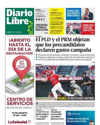 Portada Periódico Diario Libre, Jueves 15 de Agosto, 2019