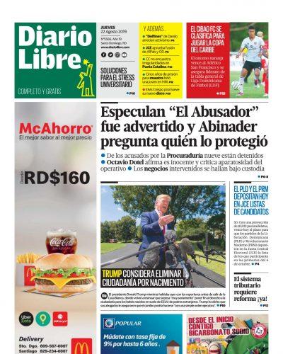 Portada Periódico Diario Libre, Jueves 22 de Agosto, 2019