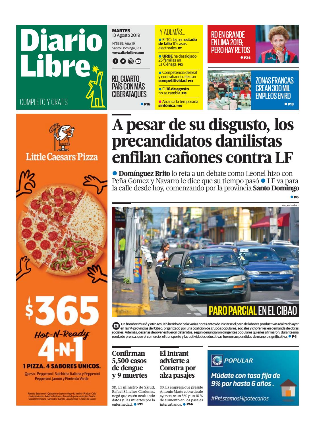 Portada Periódico Diario Libre, Martes 13 de Agosto, 2019