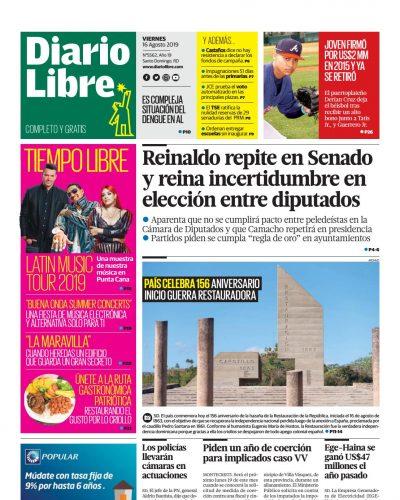 Portada Periódico Diario Libre, Viernes 16 de Agosto, 2019