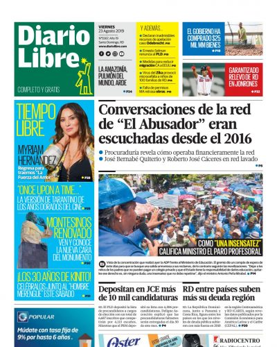 Portada Periódico Diario Libre, Viernes 23 de Agosto, 2019
