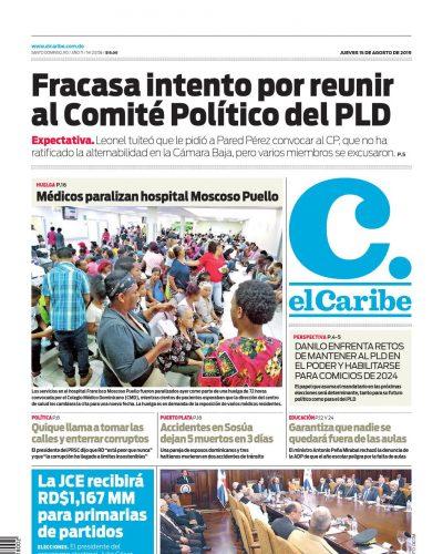 Portada Periódico El Caribe, Jueves 15 de Agosto, 2019