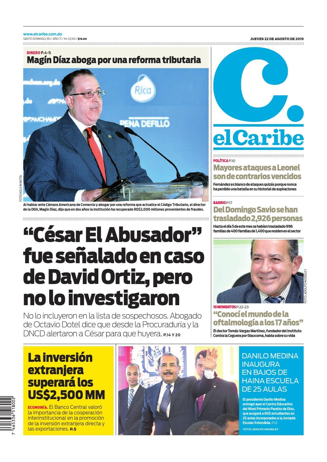 Portada Periódico El Caribe, Jueves 22 de Agosto, 2019