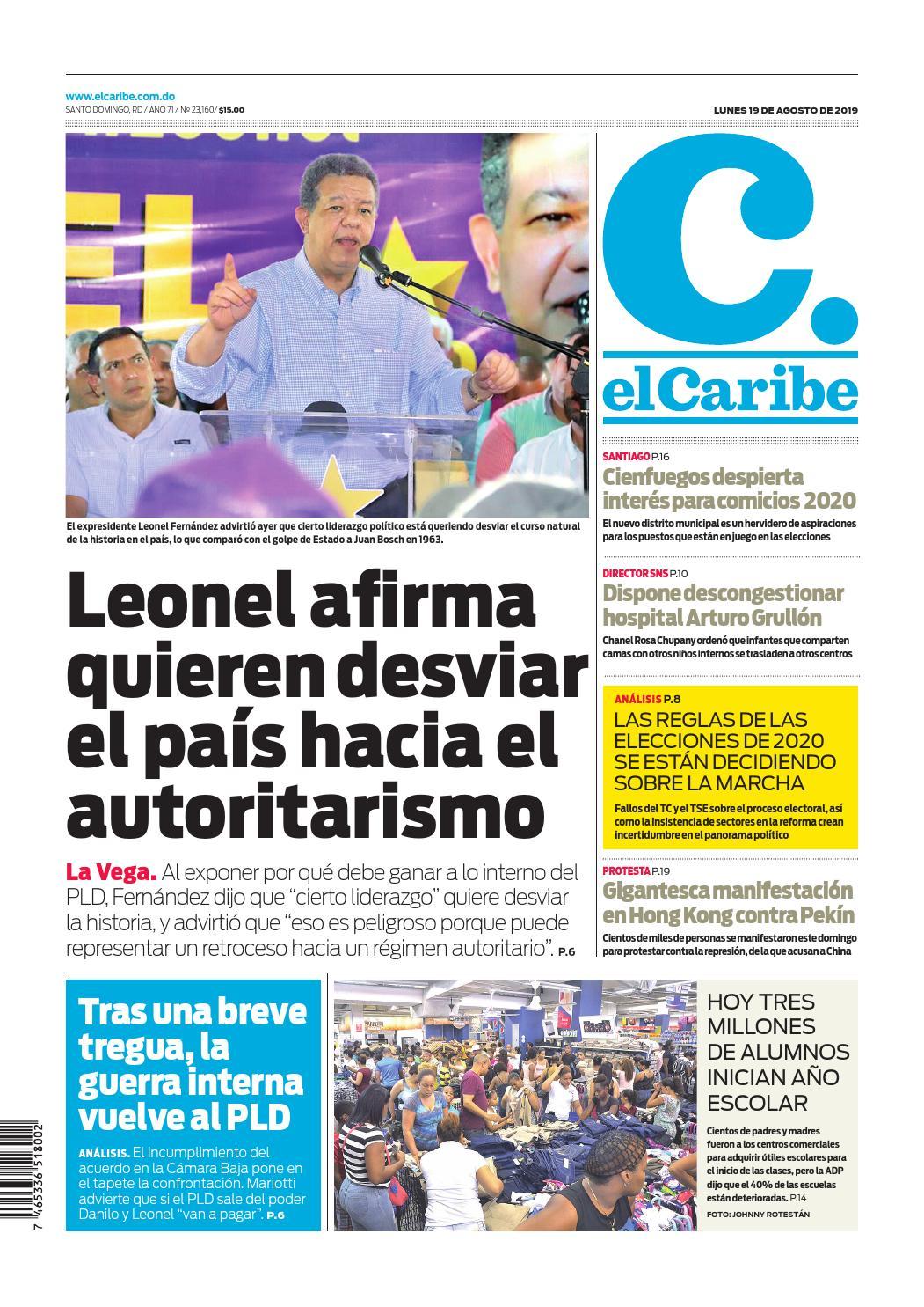Portada Periódico El Caribe, Lunes 19 de Agosto, 2019