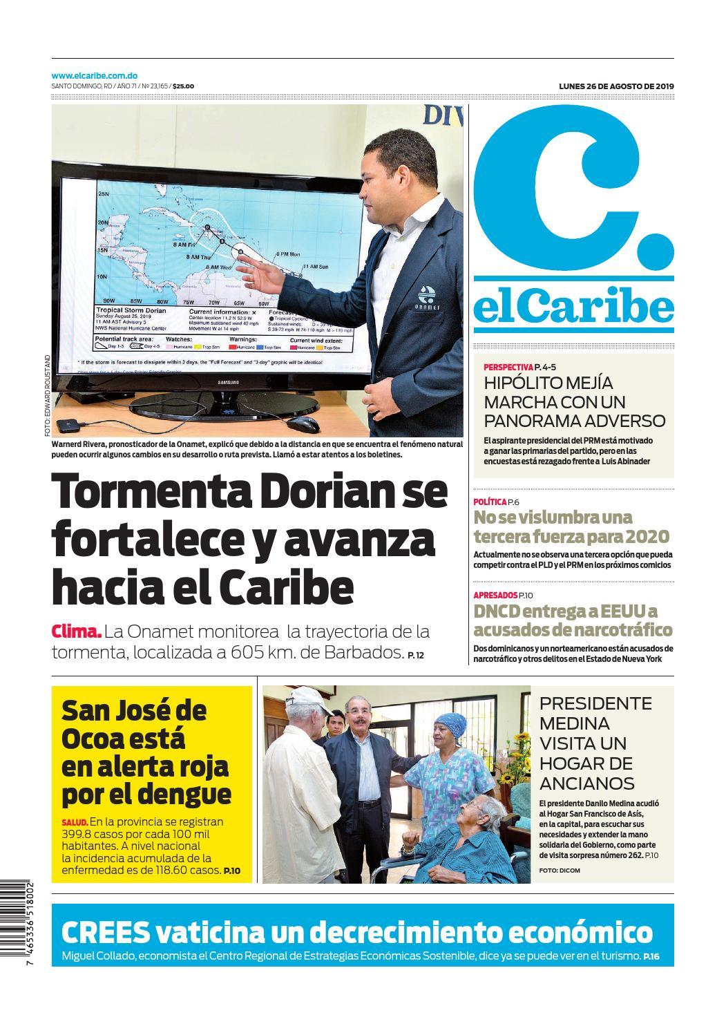 Portada Periódico El Caribe, Lunes 26 de Agosto, 2019