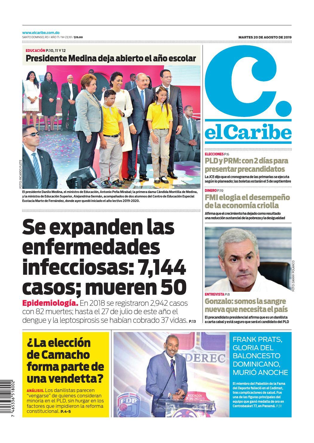 Portada Periódico El Caribe, Martes 20 de Agosto, 2019