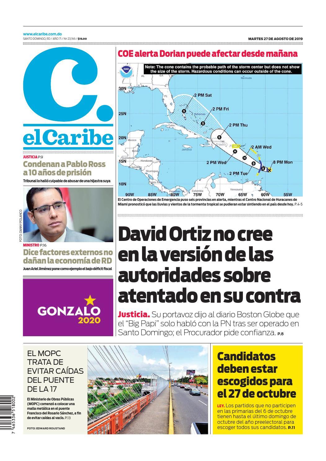Portada Periódico El Caribe, Martes 27 de Agosto, 2019