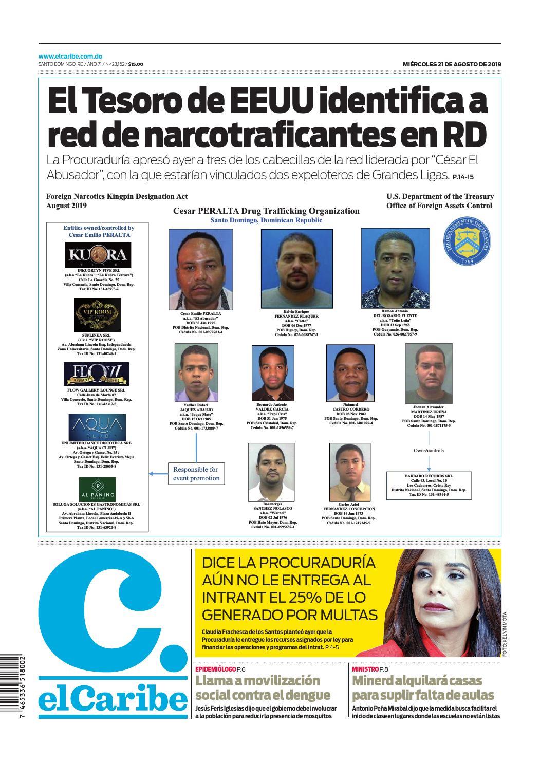 Portada Periódico El Caribe, Miércoles 21 de Agosto, 2019