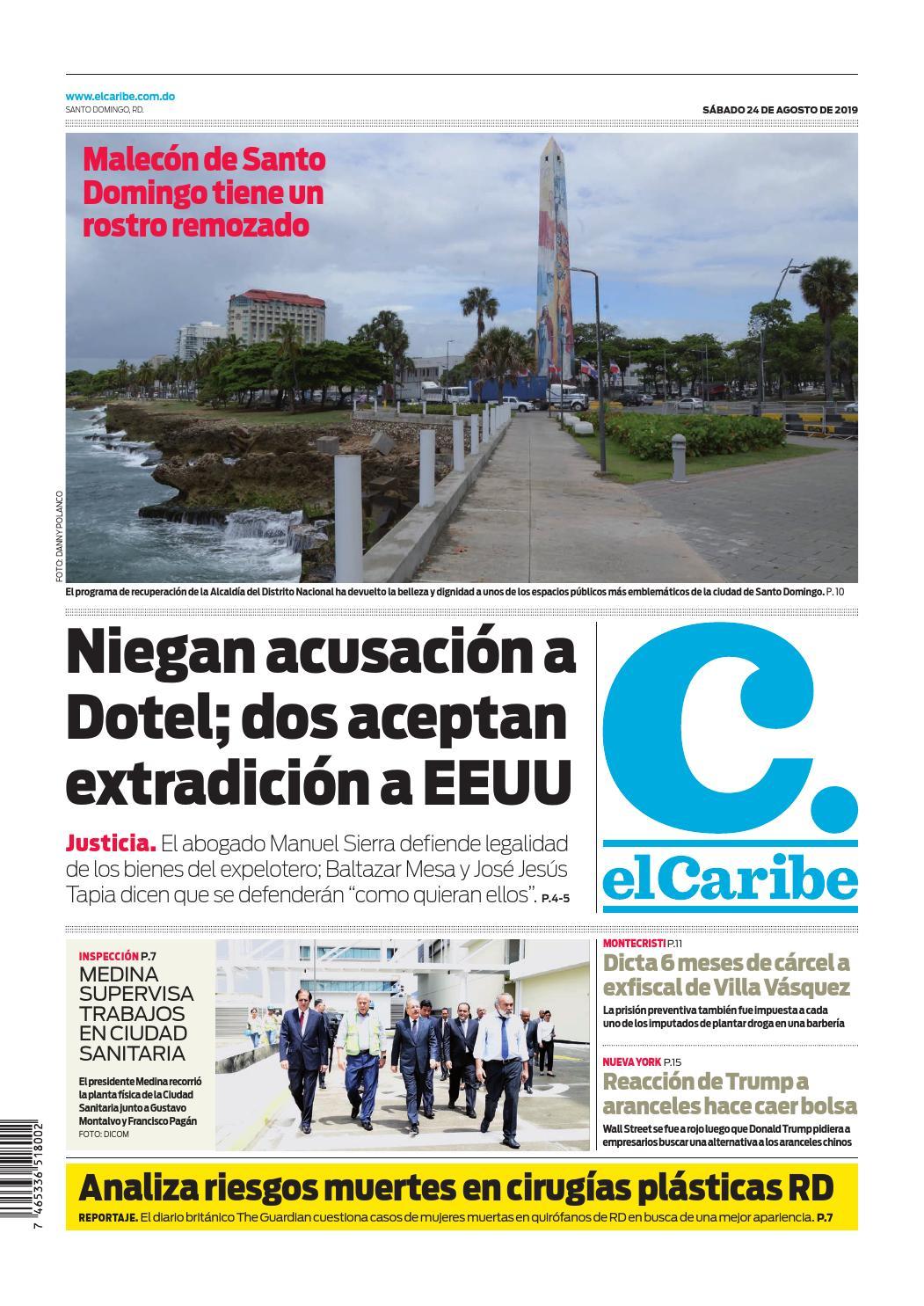 Portada Periódico El Caribe, Sábado 24 de Agosto, 2019