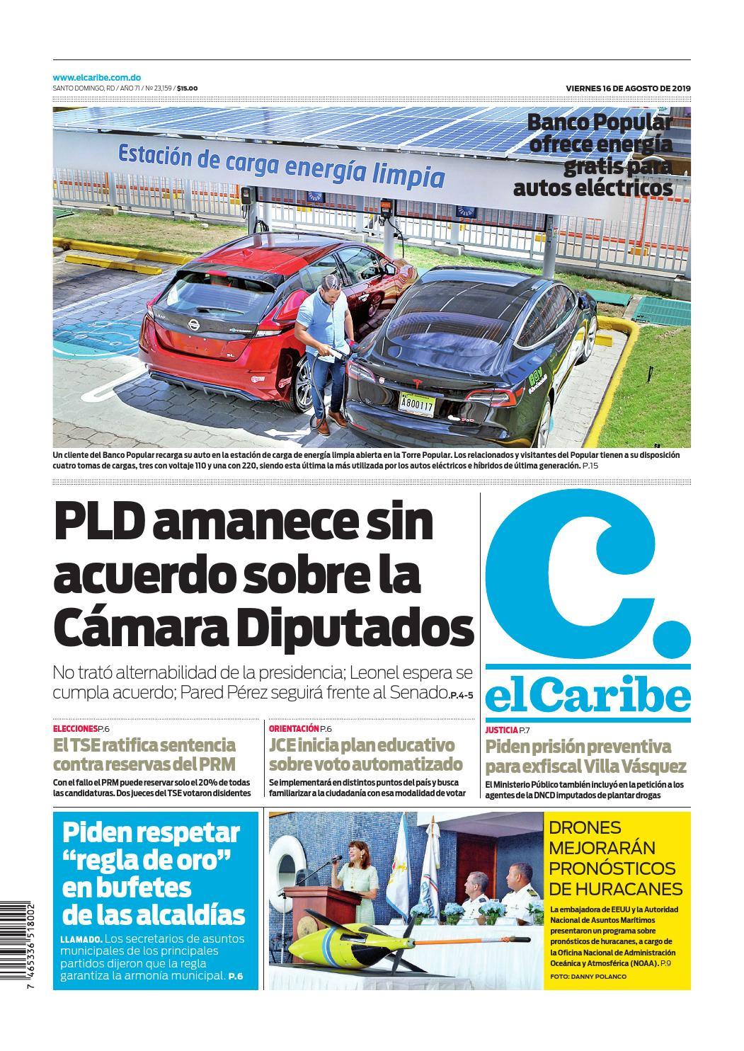 Portada Periódico El Caribe, Viernes 16 de Agosto, 2019