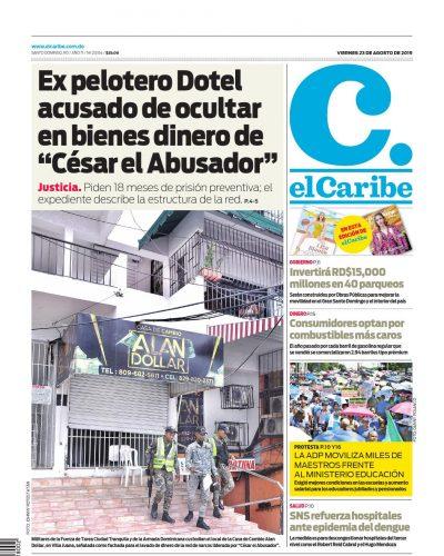 Portada Periódico El Caribe, Viernes 23 de Agosto, 2019