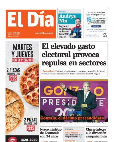 Portada Periódico El Día, Jueves 01 de Agosto, 2019