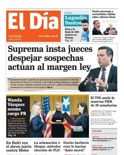 Portada Periódico El Día, Jueves 08 de Agosto, 2019