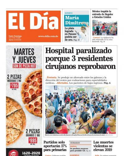 Portada Periódico El Día, Jueves 15 de Agosto, 2019