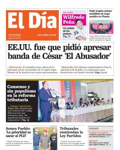 Portada Periódico El Día, Jueves 22 de Agosto, 2019