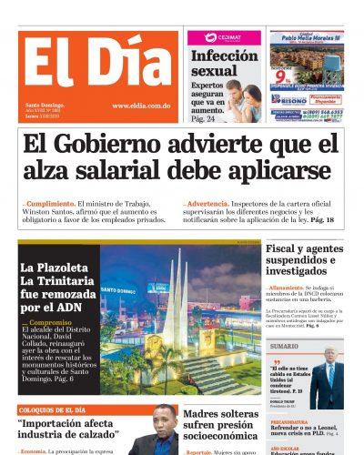 Portada Periódico El Día, Lunes 05 de Agosto, 2019