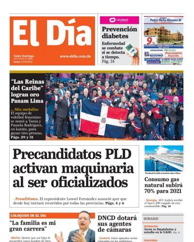 Portada Periódico El Día, Lunes 12 de Agosto, 2019