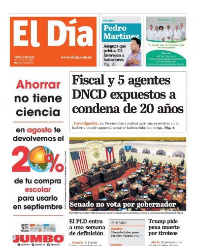 Portada Periódico El Día, Martes 06 de Agosto, 2019