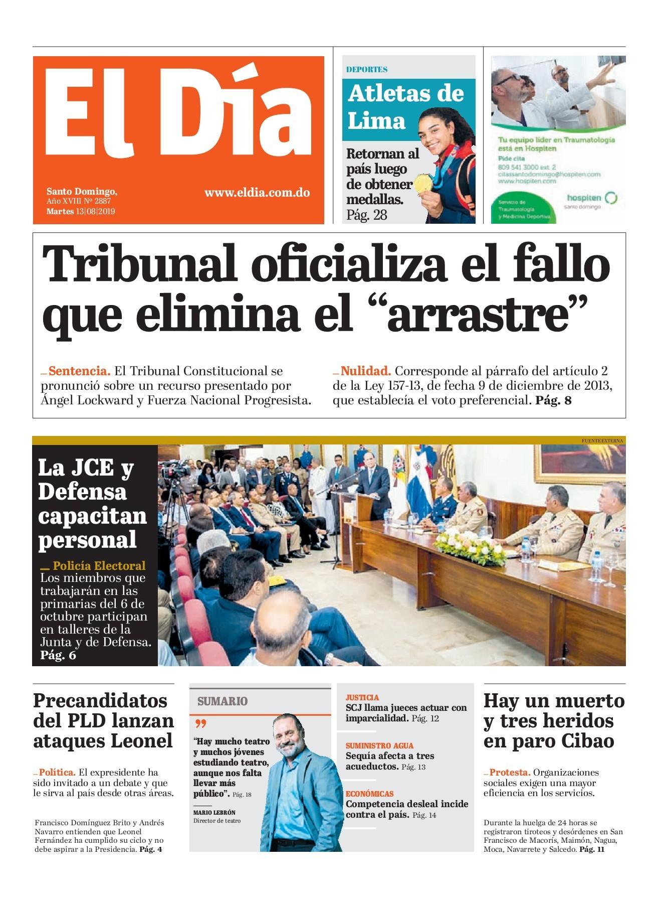 Portada Periódico El Día, Martes 13 de Agosto, 2019