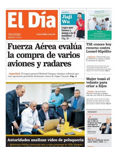 Portada Periódico El Día, Miércoles 07 de Agosto, 2019