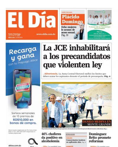 Portada Periódico El Día, Miércoles 14 de Agosto, 2019