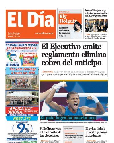 Portada Periódico El Día, Viernes 02 de Agosto, 2019