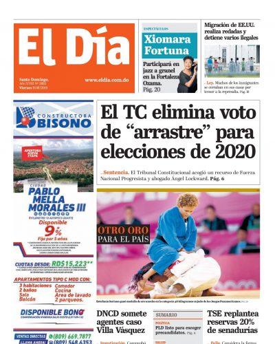 Portada Periódico El Día, Viernes 09 de Agosto, 2019