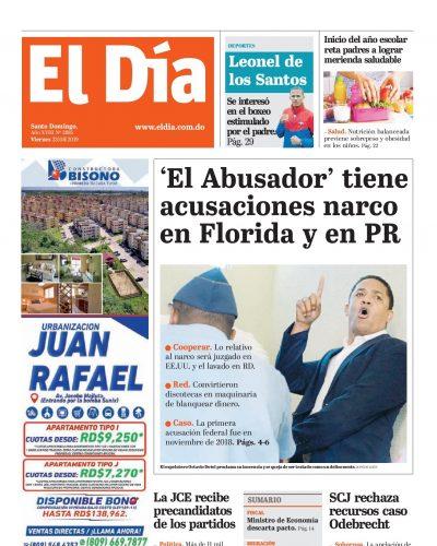 Portada Periódico El Día, Viernes 23 de Agosto, 2019