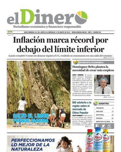 Portada Periódico El Dinero, Jueves 08 de Agosto, 2019