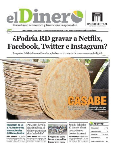Portada Periódico El Dinero, Jueves 15 de Agosto, 2019
